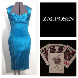 Zac Posen Wiggle Bustier Dress Sz 8 Satin Retro
